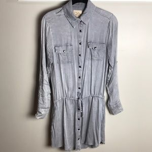 Chaser snap button shirtdress w synched waist S